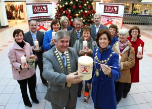 39 Lord Mayor of Galway City, Cllr. Hildegarde Naughton, and Mayor of  County Galway Cllr Michael Mahar launch WAD APA SOLIDARITY CANDLE at Galway Shopping Centre, Headford RoaWAD Galway shopping centre