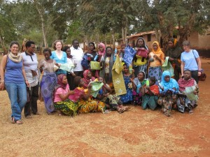 Jacinta Whelan with APA supported women in Batik production in Bagamoyo, Tanzania